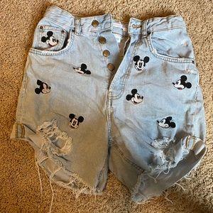 ZARA Mickey Mouse high rise shorts - RARE